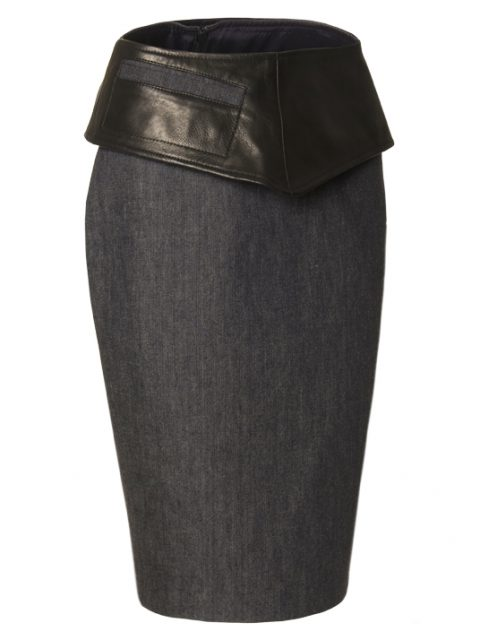 _denim pencilskirt with leather hip-band Van Jos